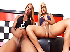 Blond colombian shemale getting fucked from her girlfriend - clip # 02