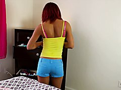 Perving on Kendra in cute shorts and fucking her ass ending with a big creampie