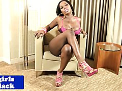 Curvy nubian tgirl in sexy lingerie posing and stroking her dick