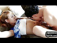 Young 18 yo japanese ladyboy coed gets her tiny cock sucked by an older man and sucked his b...