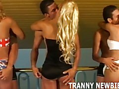 Blonde tranny gets her first hardcore gangbang  - clip # 02