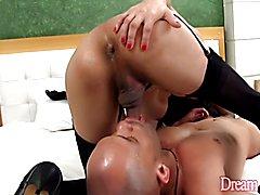 Shemale slut inserts in her boyfriend's asshole a fat dildo before she fucks him really hard...