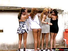 What a wonderful day to be outside by the pool with your shemale girlfriends. Amanda, Natash...