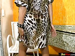 Jo Garcia is one beautiful black hair t-girl beauty with a womanly build and a massive sheco...