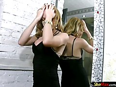 The blonde and naughty Alessandra is so sexy, she gets a hard-on just looking at herself in ...