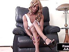 Skinny bigdick ebony fembois wanks her rock hard choco stick