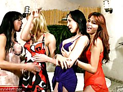 Jo, Adryella, Karen and Beatriz are four hot shemales that know how to have a really good ti...