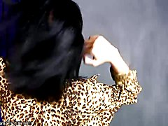 This lovely cam model came dressed in a short shiny miniskirt and surging open necked leopar...