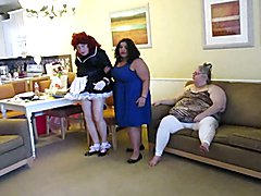 Mistresses dress me in a frilly maid uniform with humiliating frilly ankle socks and boss m ...