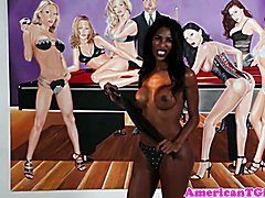 Dominant bigtitted ebony tgirl flogs male hard then gets rimmed
