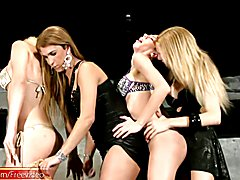 Evelin, Bia, Laviny and Alexia have a wild girls night out. These kinky t-girls get dressed ...