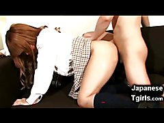 Teen japanese shemale coed Kaede cums all over herself and shoots multiple cumshots in her o...