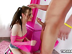 Kitty Kaiti is a cute shemale babe who gives Christian XXX some head then gives him permissi...