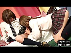 Young japanese shemale schoolgirl accidentally jizzes in her own face while gettting fucked ...