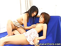 Hot young japanese hermaphrodites with cocks full of cum playing with their cocks and gettin...
