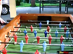 Four trannies enjoyed their table football game and after spending enough time on cock blowi...