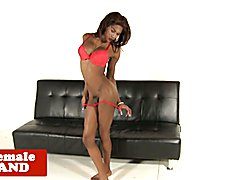 Bigtitted black tgirl with large dick jerking after showing off ebony body
