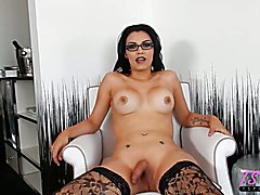 gorgeous latina TS starlet Gaby Guerrero sits down with me during our HOT sex scenes in Vega...