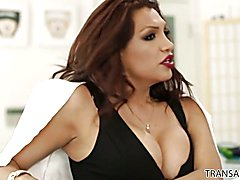 Demure brunette beauty Heather Vahn can't believe the trouble she's in with fiery TS Latin s...