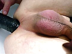 Me a long night at a hotel fucking myself with tick dildos and squirting with my ass. I cum ...