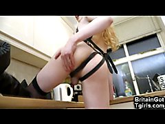Kinky and skinny amateur teen tgirl Sasha de Sade rides a big black realistic cock dildo, un...