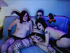 Horny Goth Shemales Do a Kinky Threesome - clip # 02