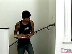 Horny shemale and girlfriend tease the pizza delivery boy and the girl suck his dick and mak...