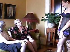 Sissy training with 2 mature women