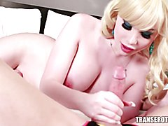 Hot Blonde T-girl Sarina Valentina sucks cock to completion