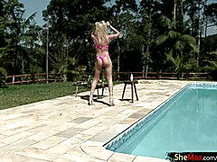Shakira Maya begins spreading oil all over her firm tits and works her way down. She gets to...