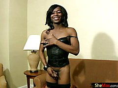 This ebony shemale was as lovely a TS as we had ever laid our lusty eyes on. We had glimpsed...