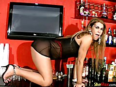 Would not you just like having this long haired shebabe model serving up the booze on game n...
