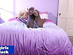 Beautiful young tgirl masturbates in bedroom to pleasure self