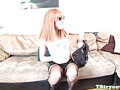 Amateur tgirl in fishnet stockings jerking her bigcock at casting