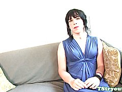 Casting amateur tugging cock on couch