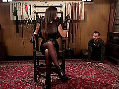 "TS Tori Mayes has one very important question for her slave Will Havoc, ""Are you ready t..."