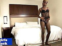 Dark nubian tranny twerks and masturbates to please herself