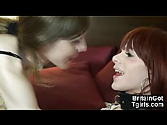 Amateur shemales from London having nasty fun together! OMG She licks the cum of her trans g...