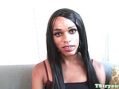 Auditioning black tgirl with natural smalltits wanks hard cock solo