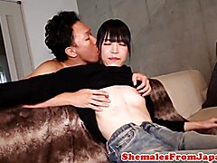 Japanese newhalf with smalltits buttfucked after rimjob in ripped jeans