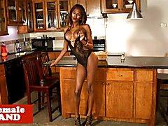 Ebony trans beauty wanks chocolate cock solo