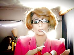 Sissy tIa smokes the cigarette and her fav dildo.. she is a Cocksuker