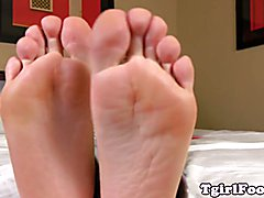 Pedicured toes teasing tgirl showing barefeet with nice soft soles