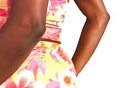 Black crossdresser sissy Gina dress inside me new summer outfits and twerk dem big bubble as...