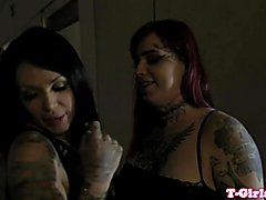 Inked lesbian tranny assfucking bigtitted lover after rimming her ass