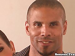 Alluring trans divas cumdropping during trio with fine muscular hunk