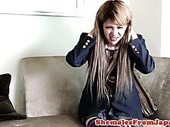 Versatile fladyboy schoolgirl in uniform facialized after assfucked