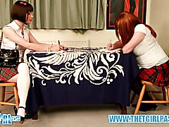 Brunette crossdresser schoolgirl gets hard ass spanking red bum over the desk for cheating w...