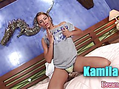 Horny tgirl Kamila Smith licks a real girl's pussy while the girl sucks a guy's dick. Then t...