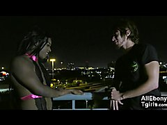 White boy got his mouth and ass fucked by a black transsexual domina on his first date with ...